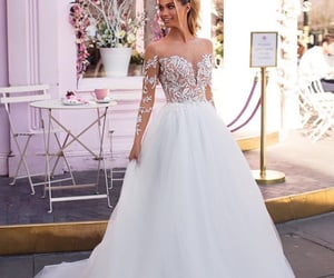 bride, wedding dress, and gown image