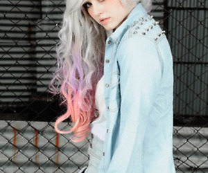 hair, pink, and purple image