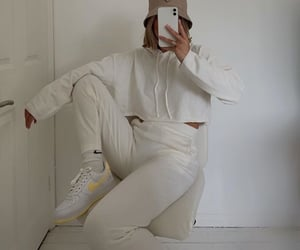 white hoodie, white outfit, and white crop top image