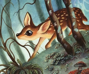 animals, fawn, and art image