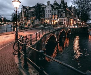 amsterdam, canal, and citylights image