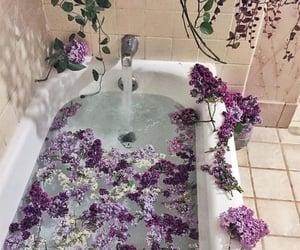 flowers, purple, and bath image