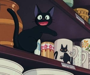 kiki's delivery service, anime, and cat image