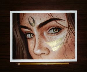 art work, drawing, and green eyes image