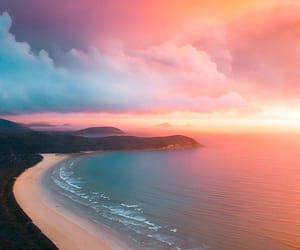 beach, sunset, and australia image