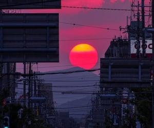 sunset, japan, and sun image