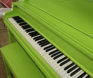 green, piano, and music image