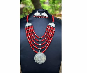 beaded necklace, earrings, and necklace set image