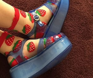 shoes, strawberry, and socks image
