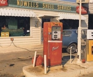 retro, vintage, and gas station image