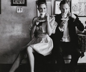 couple, black and white, and tea image