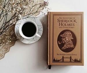 book, coffee, and sherlock holmes image
