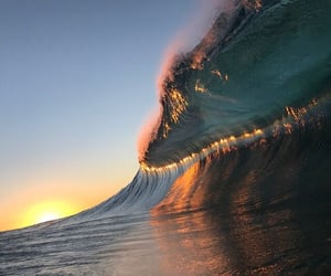 sunset, waves, and beach image