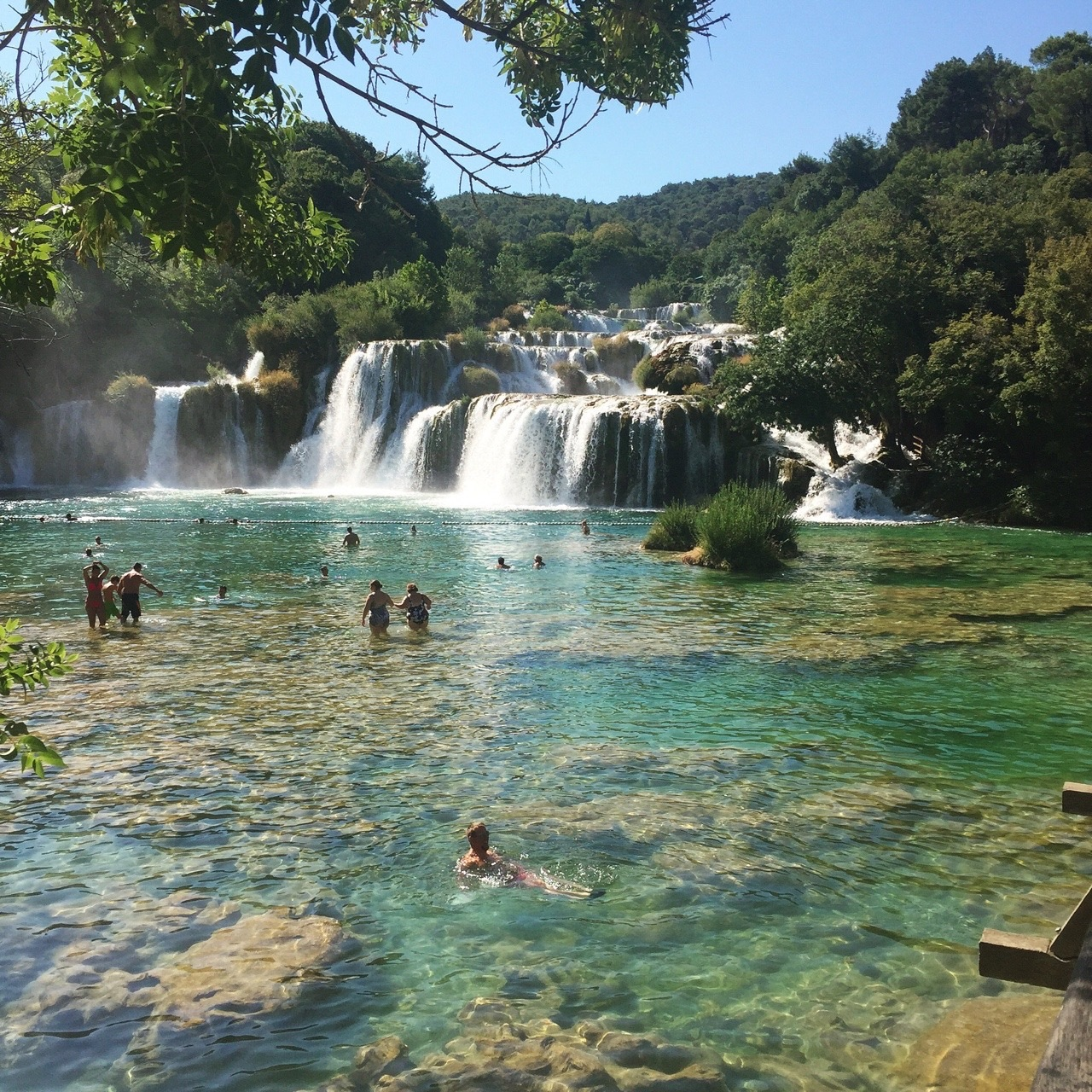 summer, waterfall, and nature image