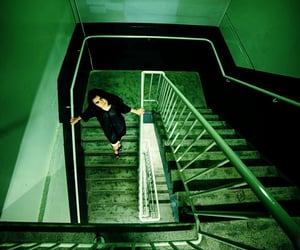 green, stairway, and photography image