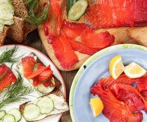 cream cheese, cucumber, and smoked salmon image