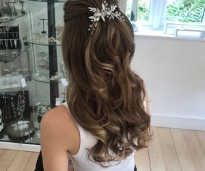 hair accessories, hairstyle, and wedding hair image