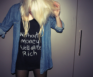 girl, blonde, and money image