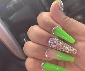 green nails, nails, and nail designs image