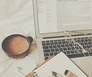 study, coffee, and laptop image