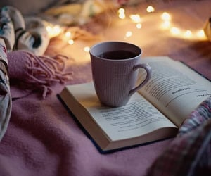 coffee, reading, and winter aesthetic image