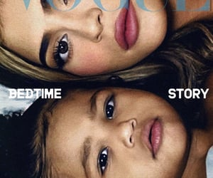 stormi, kylie jenner, and vogue image