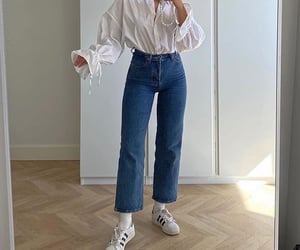 long sleeve top, white blouse, and adidas superstar image