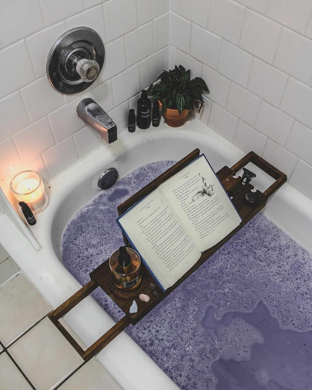 book, bath, and candle image