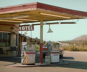 car, gas station, and motel image