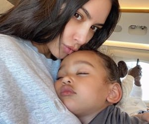 kim kardashian, chicago west, and family image