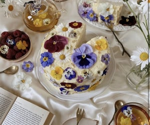 food, flowers, and cake image