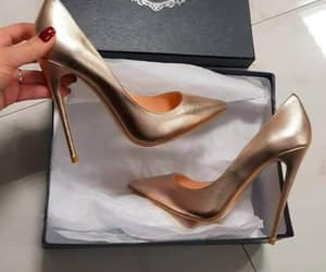 shoes, golden, and heels image