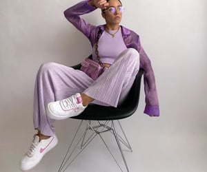 purple outfit, purple crop top, and fashion style mode image