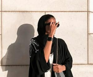 black and white, hijab, and muslim girl image