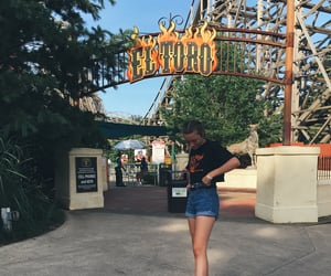 amusement park, outfit, and Roller Coaster image