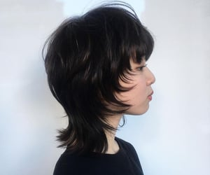 black hair, cut hair, and punk hair image