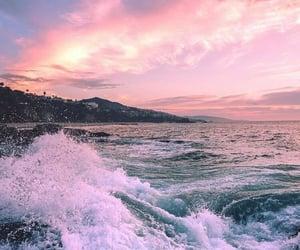 sea, sunset, and beach image