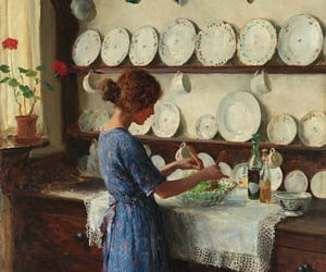 art, kitchen, and woman image