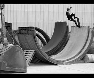 balck&white, model, and skateboarding image