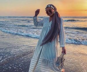 beach, beautiful, and muslima image
