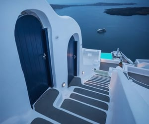 architecture, blue, and Greece image