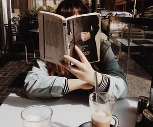 coffee shop, girl reading, and coffee aesthetic image