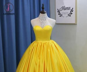 ball gown, long prom dress, and yellow prom dress image