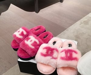 chanel, slippers, and pink image