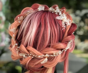braid, peach, and pink image