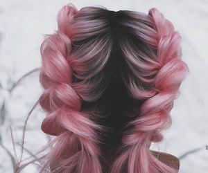 braid, pink, and haïr image
