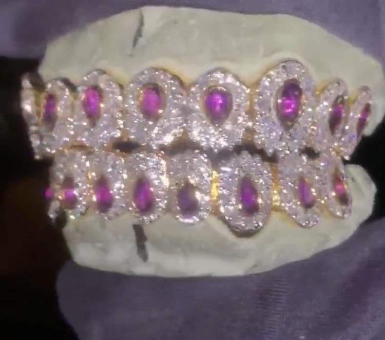 jewellery, purple, and teeth image