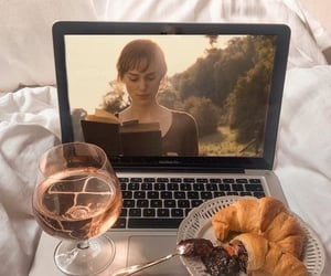 croissant, movie, and drink image