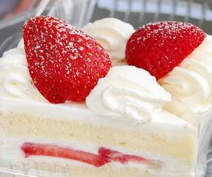 cheesecake, strawberry, and cream image