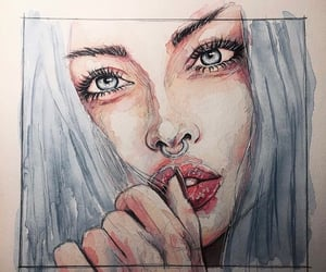 art, bad girl, and blue eyes image